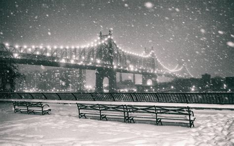 work bench new york bridge lights night snow winter bench bw wallpaper