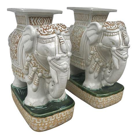 Vintage Elephant Garden Stool by Vintage White Ceramic Elephant Garden Stools A Pair