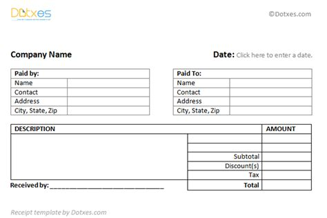 pages receipt template general receipt template 2 per page dotxes