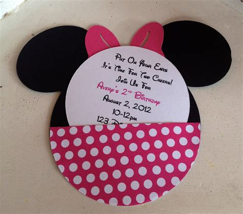Minnie Mouse Handmade Invitations - handmade custom pink minnie mouse birthday invitations