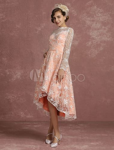 Brautkleid Langarm Vintage by Spitze Hochzeit Kleid Rosa Hoch Niedrig Vintage Brautkleid