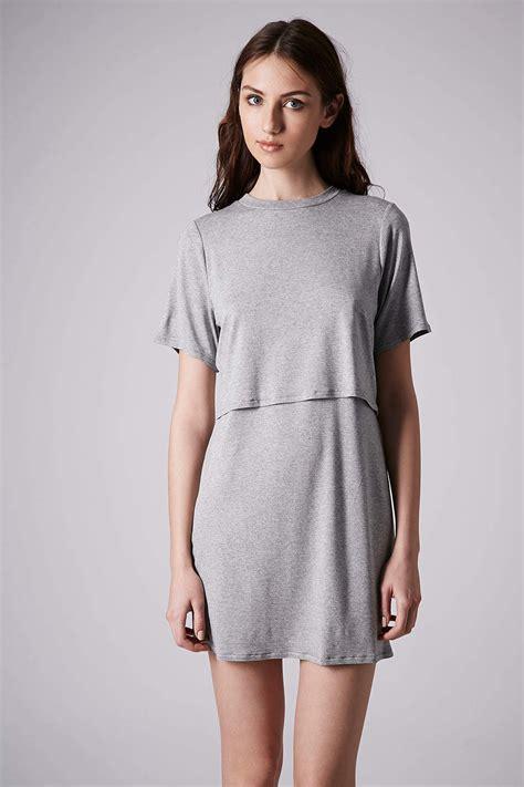 Top Shoo lyst topshop sport jersey overlay dress in gray
