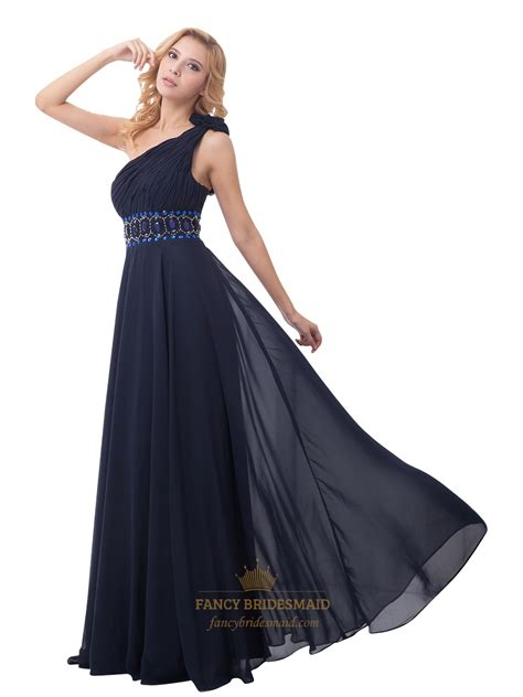 what color prom dress should i get navy blue chiffon one shoulder rhinestone prom dress with
