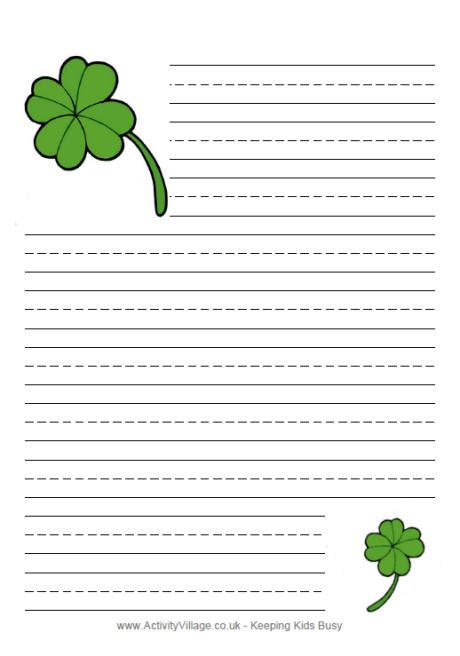 s day writing paper st s day writing paper shamrocks holidays