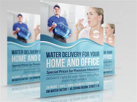 delivery flyer template delivery water service advertising bundle by