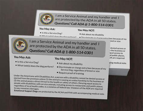 ada service card service ada info cards usa service dogs
