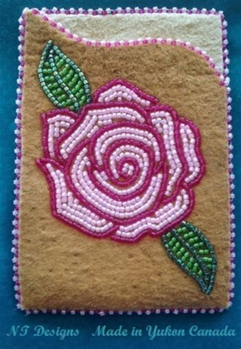 bead of roses moosehide id card holder beading patterns
