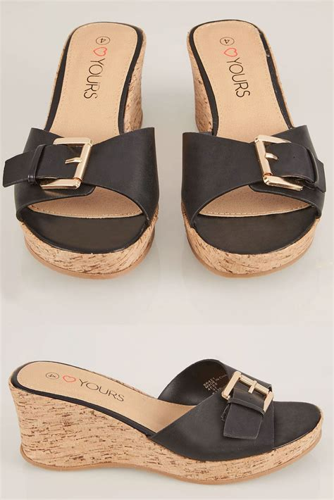 Wedge Mules black cork wedge mule in eee fit size 4eee 5eee 6eee 7ee