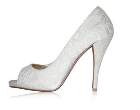 white lace wedding shoes peep toe onewed