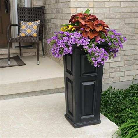 Column Planters by Mayne Nantucket 15 1 2 In Square Black Plastic Column