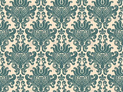 seamless pattern vector free download blue damask pattern