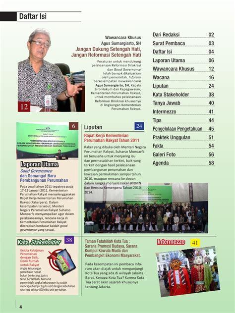 desain daftar isi majalah good governance majalah perumahan dan kawasan permukiman