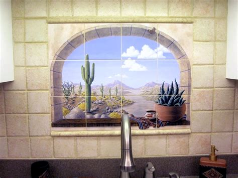 Kitchen Backsplash Murals by Faux Window Tiles Tropical Tile Murals And More