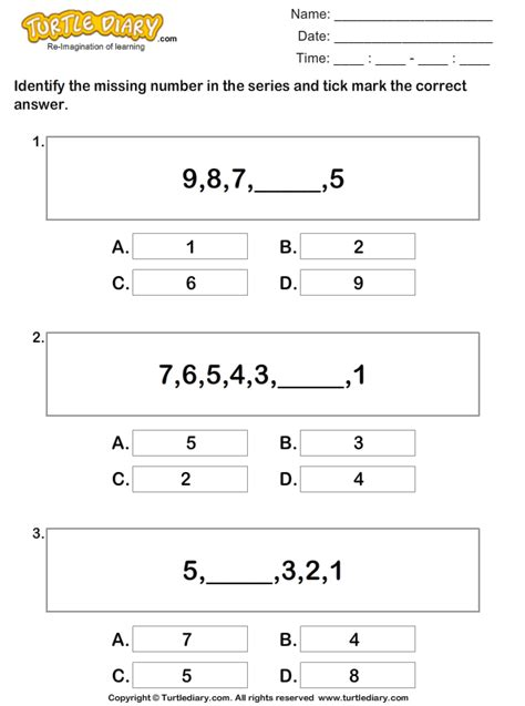 find pattern series numbers find the missing numbers to complete the series worksheet