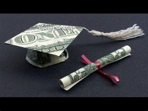 Money Hat Origami - diy how to fold 2 money origami graduation cap diploma