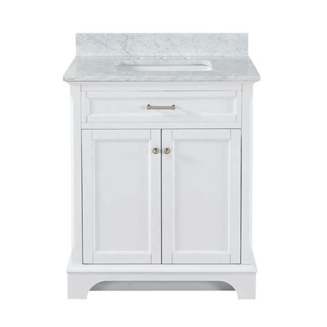 Marble Top Bathroom Vanity Shop Allen Roth Roveland White Undermount Single Sink Bathroom Vanity With Marble Top
