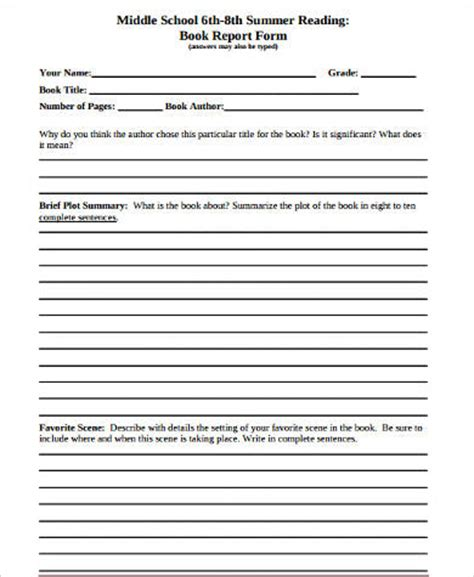 book report for middle school sle book report forms 9 free documents in word pdf