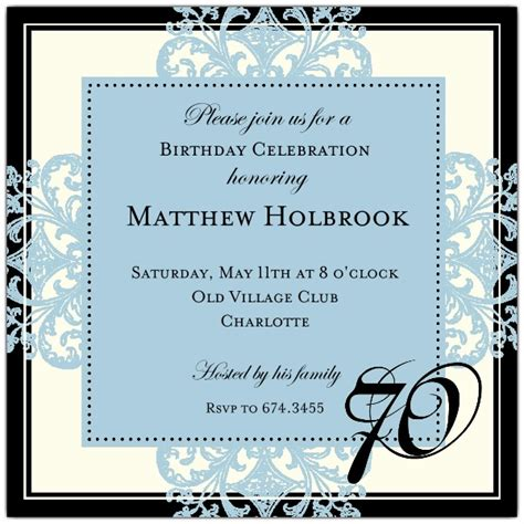 70th birthday invitation templates decorative square border blue 70th birthday invitations