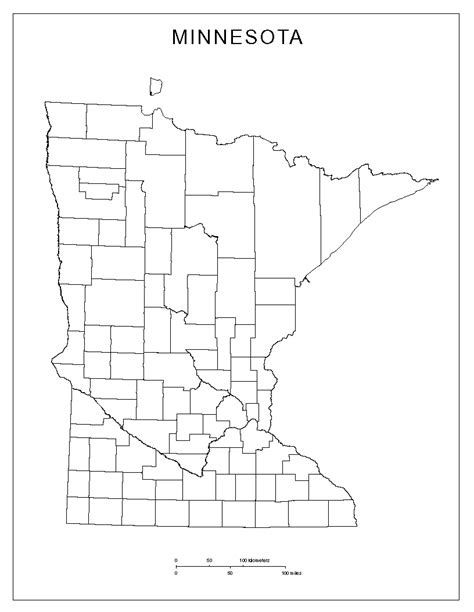 mn county map minnesota blank map