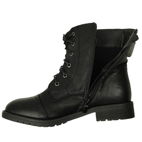 womans black boots s casual comfort rounded toe combat ankle boots us