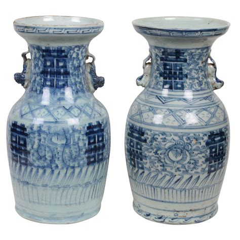 Antique Blue And White Porcelain Vases by Pair Of Antique Blue And White Porcelain Vases At 1stdibs