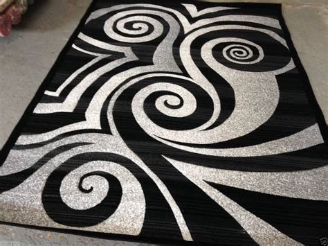 Modern Black And White Rugs Modern Circle Area Rug Black White Gray Circles Swirls Brush Pattern 6feet6x9feet2 Square Lines