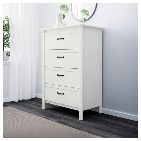 brusali chest of 4 drawers white 80x117 cm