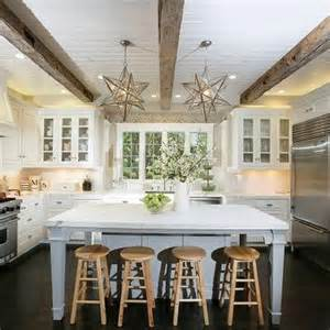 Moravian Star Chandelier Beadboard Ceiling With Wood Beams Design Ideas