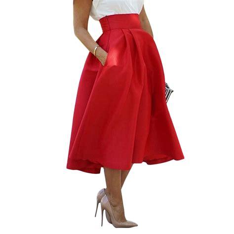 swing skirt dress vintage women stretch high waist skater flared pleated