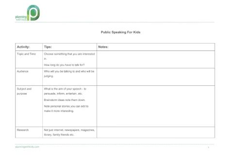 Speech Planning Template speaking tips for planning with