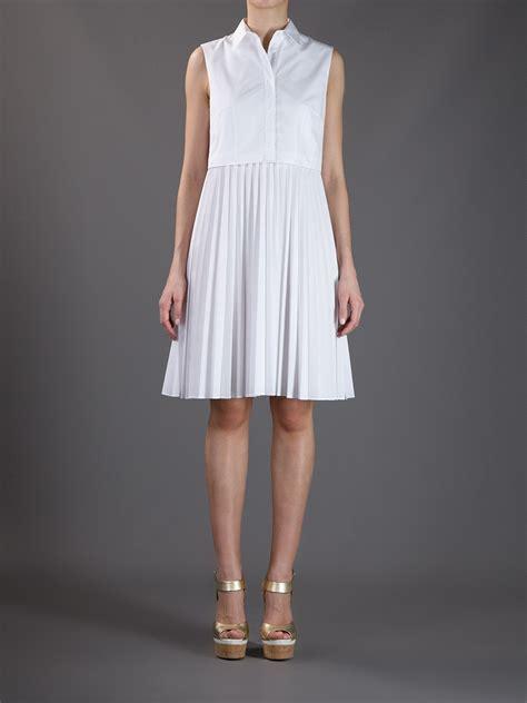 Shirt Pleated Skirt christopher pleated skirt shirt dress in white lyst