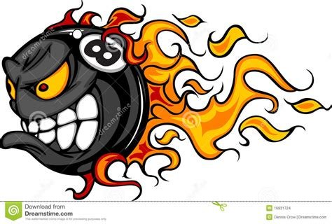 eight ball flaming face vector image stock images image