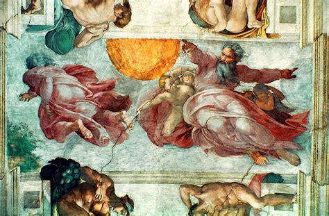 Ceiling Of The Sistine Chapel By Michelangelo by Sistine Chapel Ceiling Creation Of The Sun And Moon
