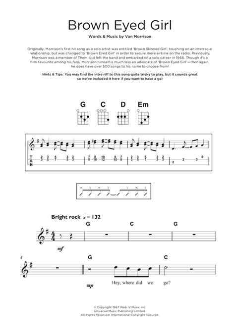 ukulele tutorial brown eyed girl brown eyed girl sheet music by van morrison beginner