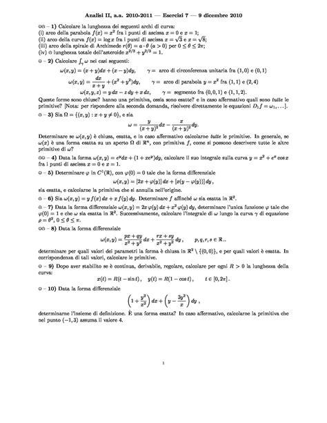 Integrali curvilinei e primitive - Esercizi