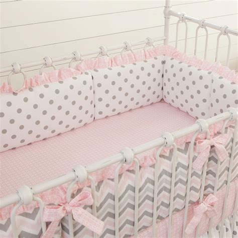 baby bed bumpers pink and gray chevron crib bumper carousel designs