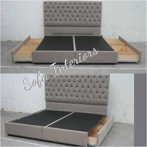 bed frame with tufted headboard tufted headboard with custom made bed frame with pullout