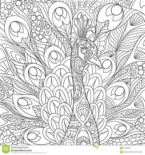 painting for grown ups zentangle a stylis 233 le paon illustration de vecteur