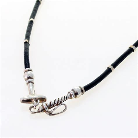 Sterling Silver Leather Necklace sterling silver and leather polo mallet necklace
