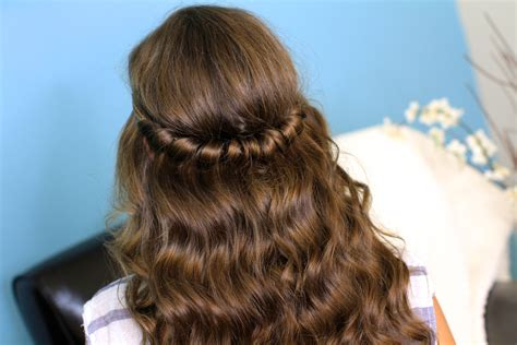 cute wand hairstyles headband twist half up half down hairstyles