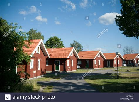 Traditional Swedish House Red Houses Sweden Timber Building Red Oxide Stock Photo