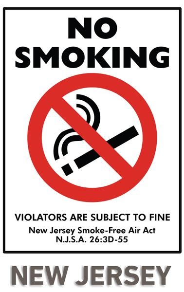 no smoking sign fine new jersey no smoking sign by safetysign com r5460