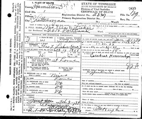 Hamilton County Death Certificates Submitted By Hcgs Members
