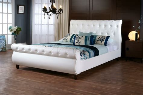 white headboard full size bed baxton studio ashenhurst white modern sleigh bed with