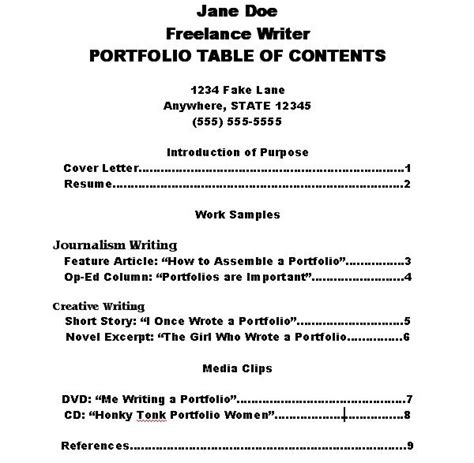 How To Write A Table Of Contents by How To Make A Portfolio Table Of Contents Resume