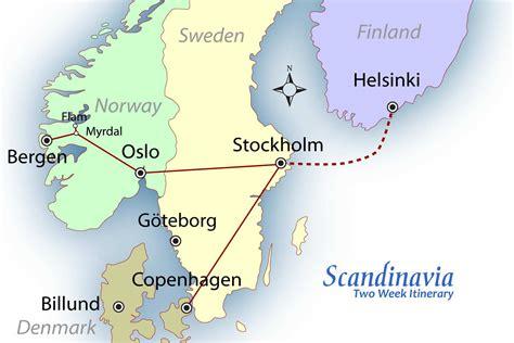 map of scandinavian countries scandinavia suggested itinerary europe travel