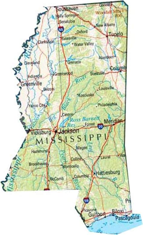 mississippi state map map of mississippi ms state map