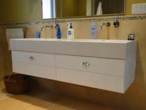 crafted trough sink vanity by by cabinets