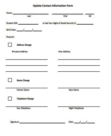 Update Contact Information Form Template 12 sle contact information forms sle templates