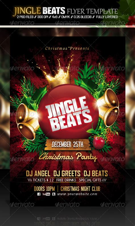 Jingle Beats Christmas Party Flyer Template By Dilanr Graphicriver Celebration Flyer Template